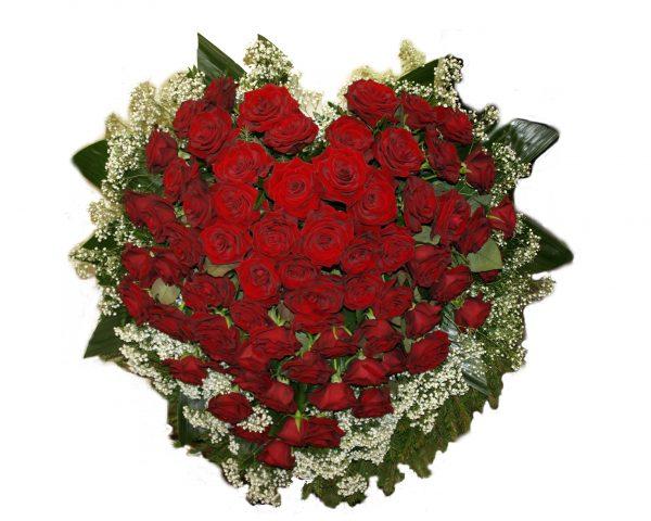 Südamekujuline pärg roosidega (~125tk)